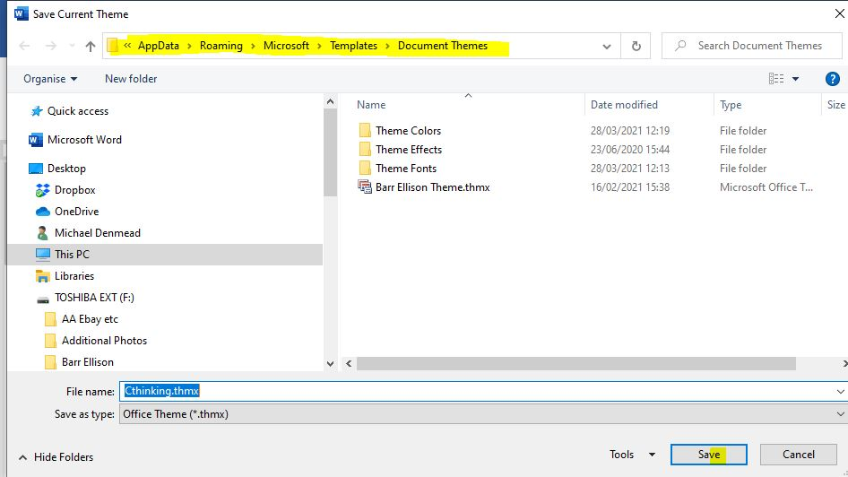 Creating a Theme for Microsoft Applications - step 6